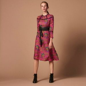 Sandro Floral Pink Silk Twill & Lace Dress